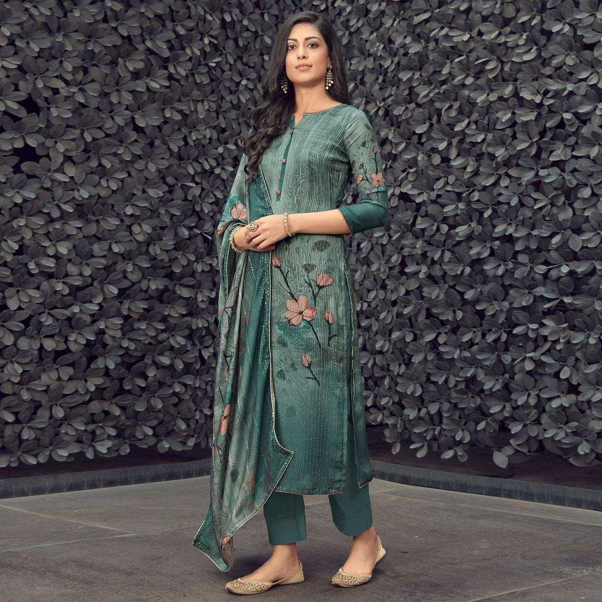 Dark Green Partywear Embroidery With Floral Digital Printed Pure Muslin Suit