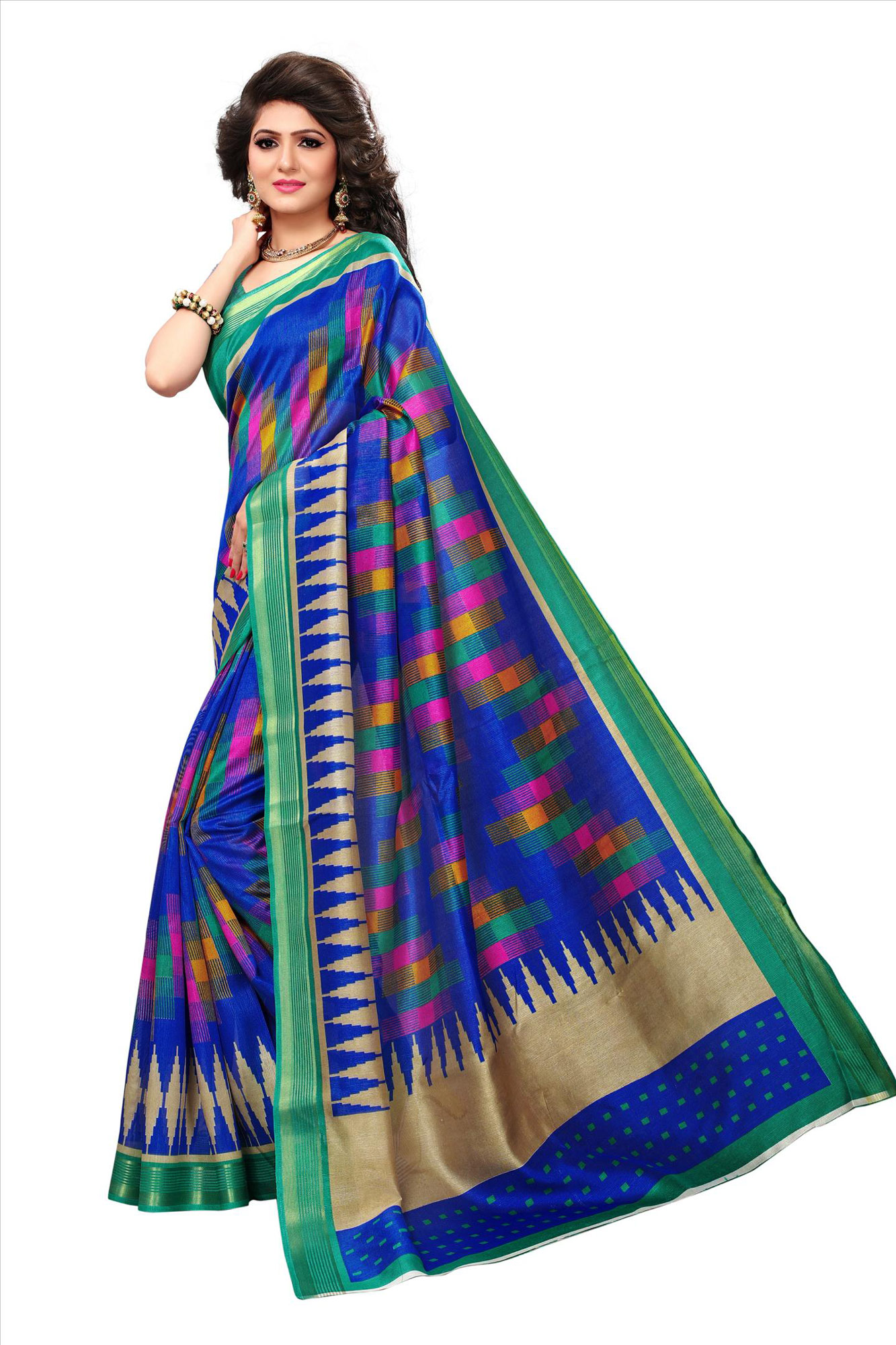 Blue Casual Wear Printed Bhagalpuri Silk Saree