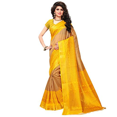 Beige-Yellow Casual Wear Printed Bhagalpuri Silk Saree