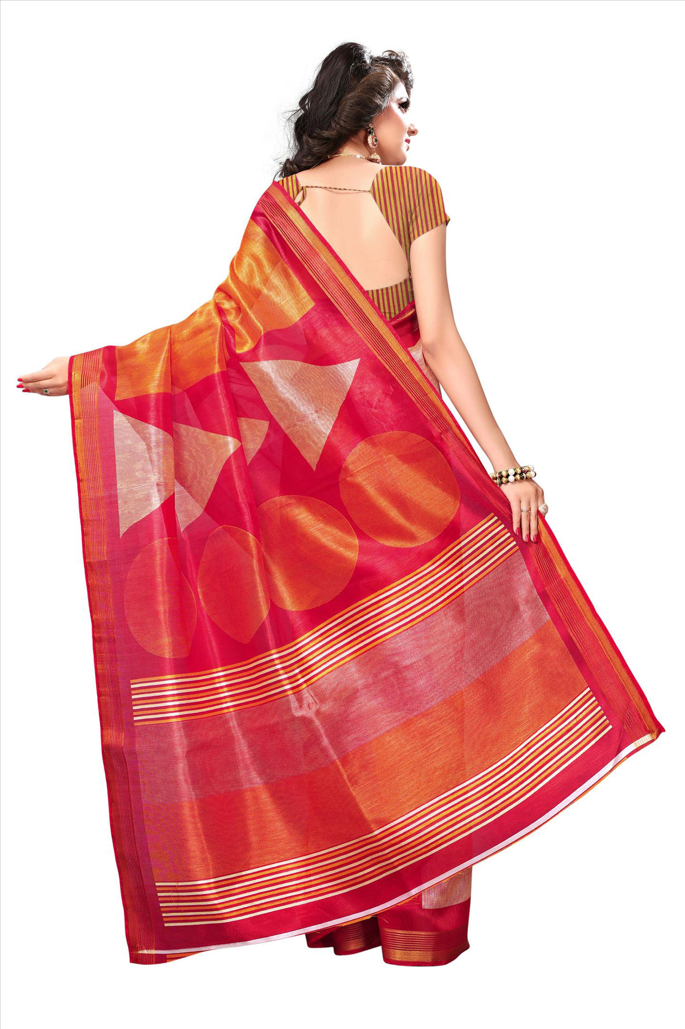 Red-Orange Casual Wear Printed Bhagalpuri Silk Saree