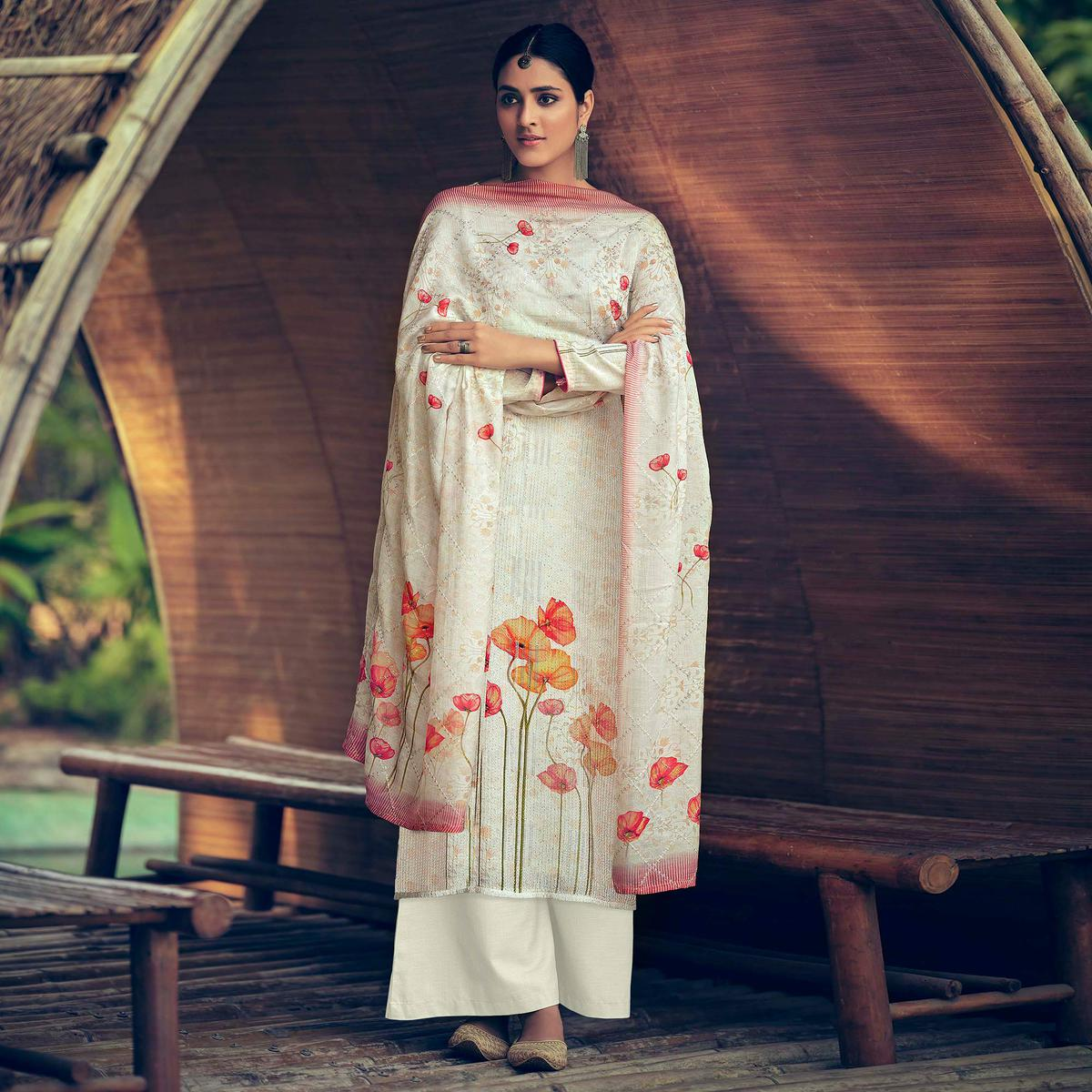 White Festive Wear Embroidery With Floral Digital Printed Muslin Palazzo Suit