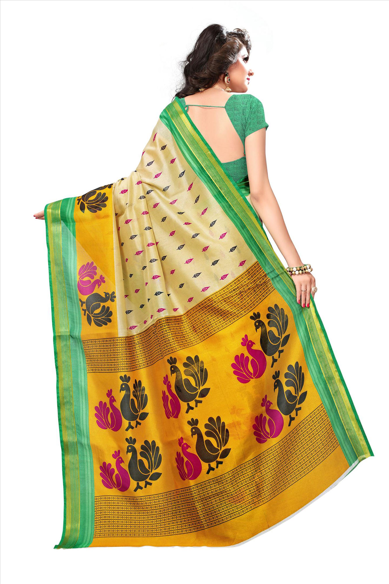 Light Beige-Green Festive Wear Bhagalpuri Silk Saree