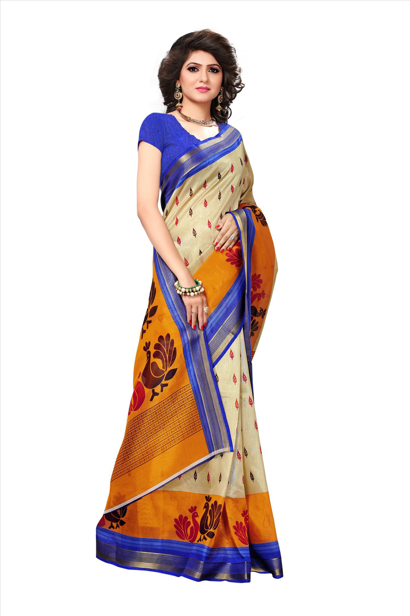 Light Beige-Blue Festive Wear Bhagalpuri Silk Saree