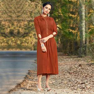Moody Brown Colored Embroidered Cotton Kurti
