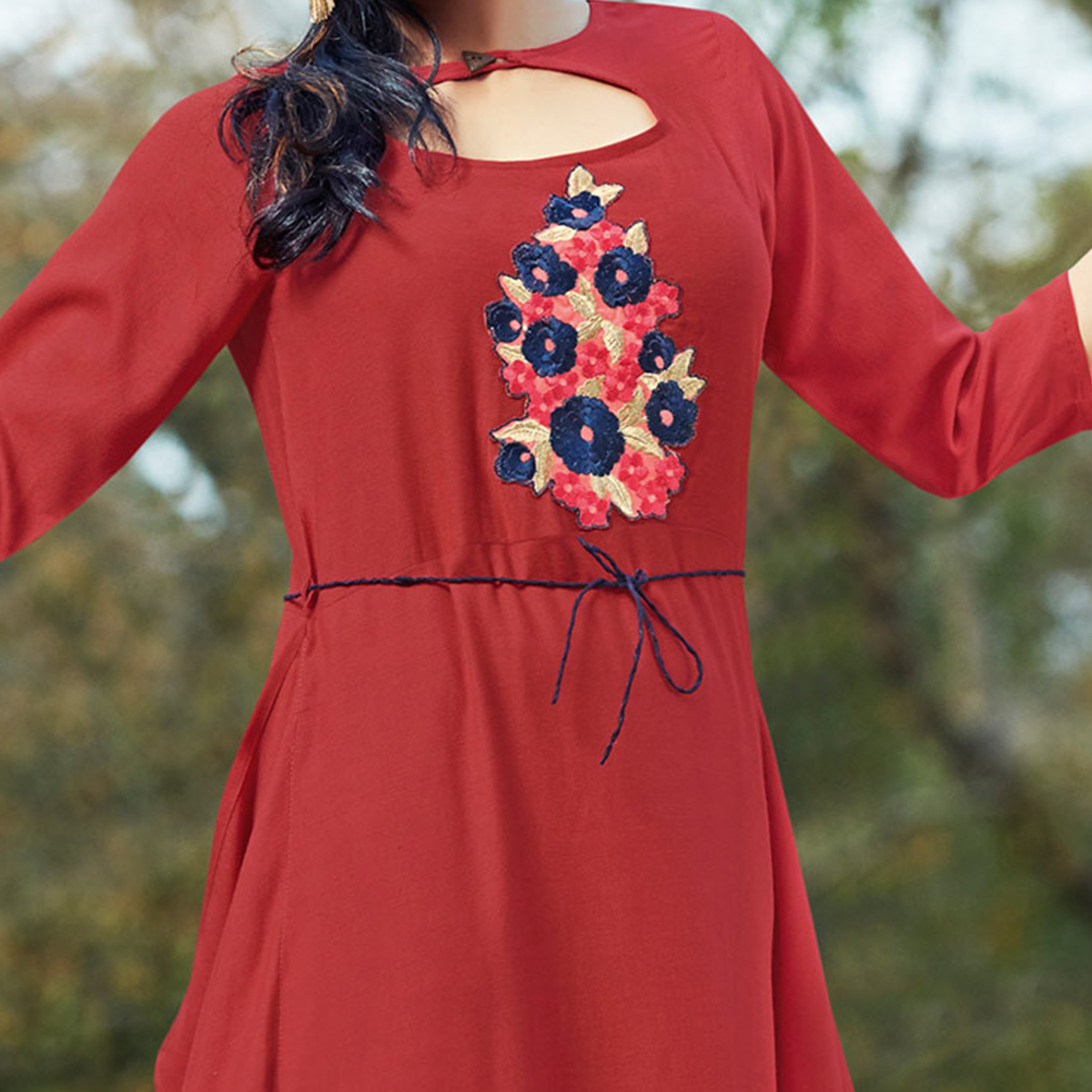 Smart Maroon Colored Embroidered Cotton Kurti