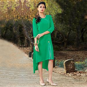 Groovy Green Colored Embroidered Cotton Kurti