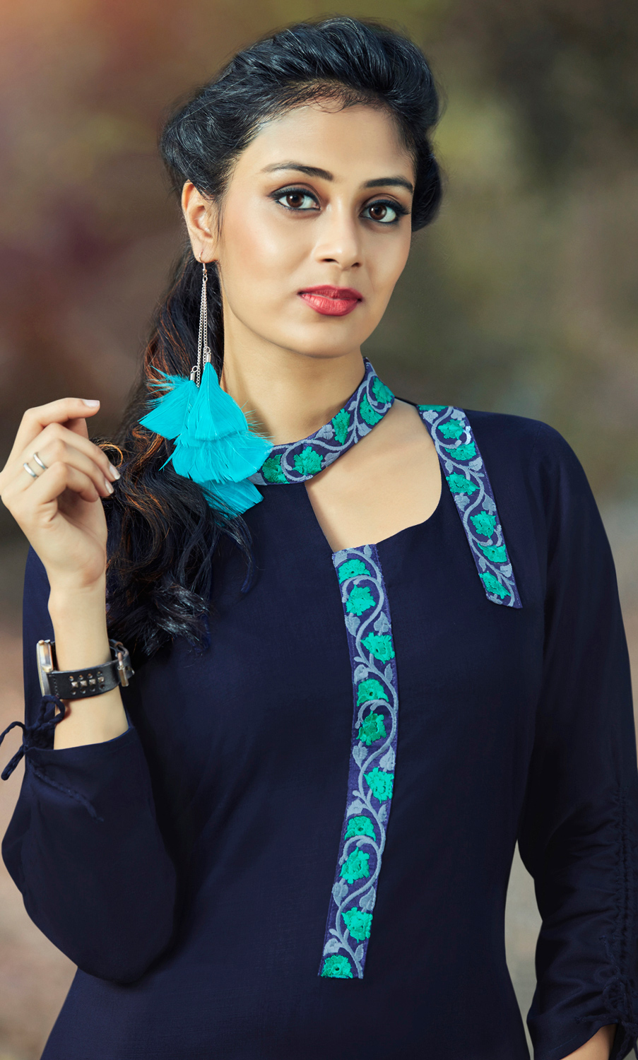 Naughty Navy Blue Colored Embroidered Cotton Kurti