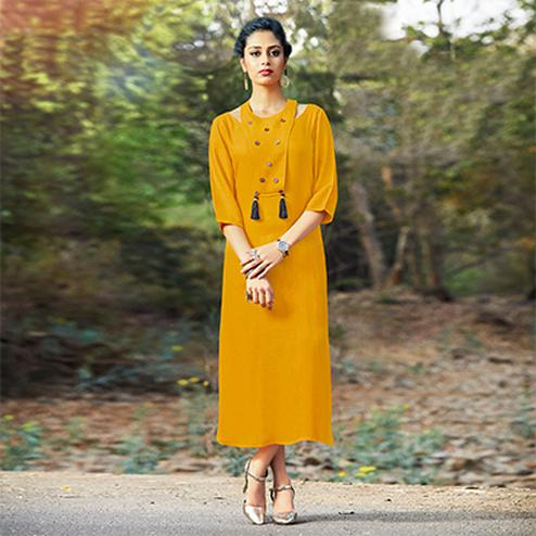 Mesmerising Yellow Colored Fancy Cotton Kurti