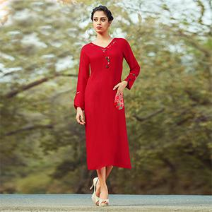Flirty Red Colored Embroidered Cotton Kurti