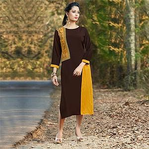 Stylish Brown-Yellow Colored Embroidered Cotton Kurti