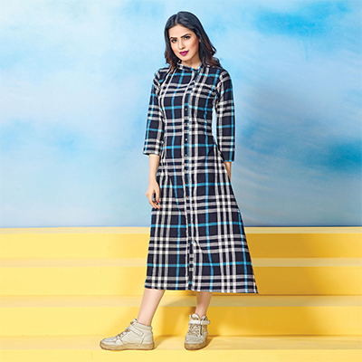 Attractive Navy Blue Colored Plaid Cotton Kurti