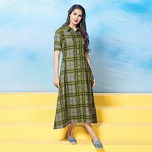 Trendy Olive Green Colored Plaid Cotton Kurti