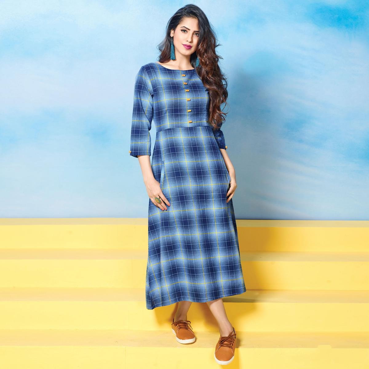 Bold Blue Colored Plaid Cotton Kurti