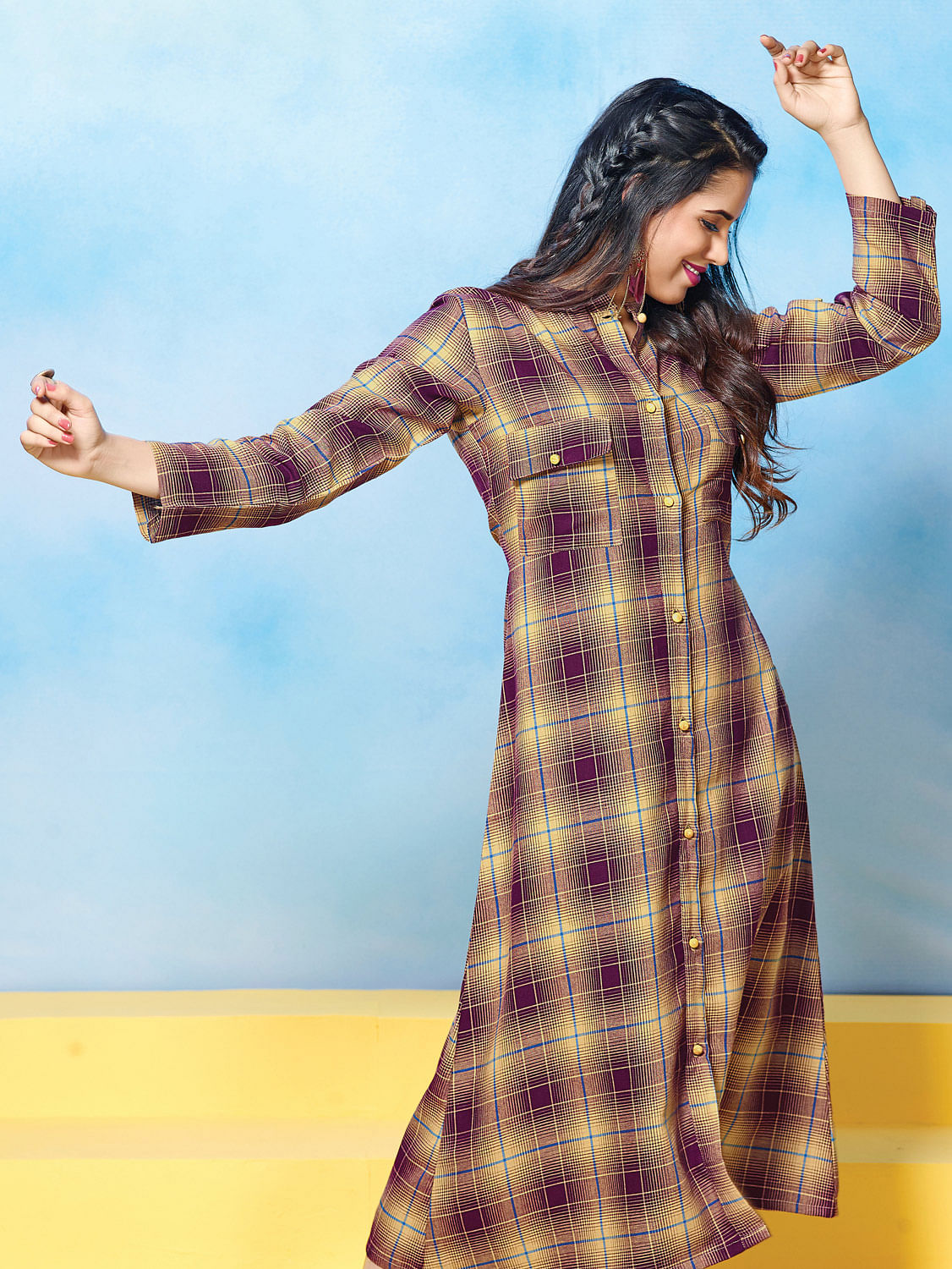 Mystic Beige-Wine Colored Plaid Cotton Kurti