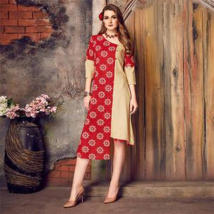 Snazzy Red-Beige Colored Printed Cotton Kurti