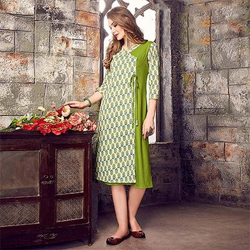 Capricious Off-White-Green Colored Printed Cotton Kurti