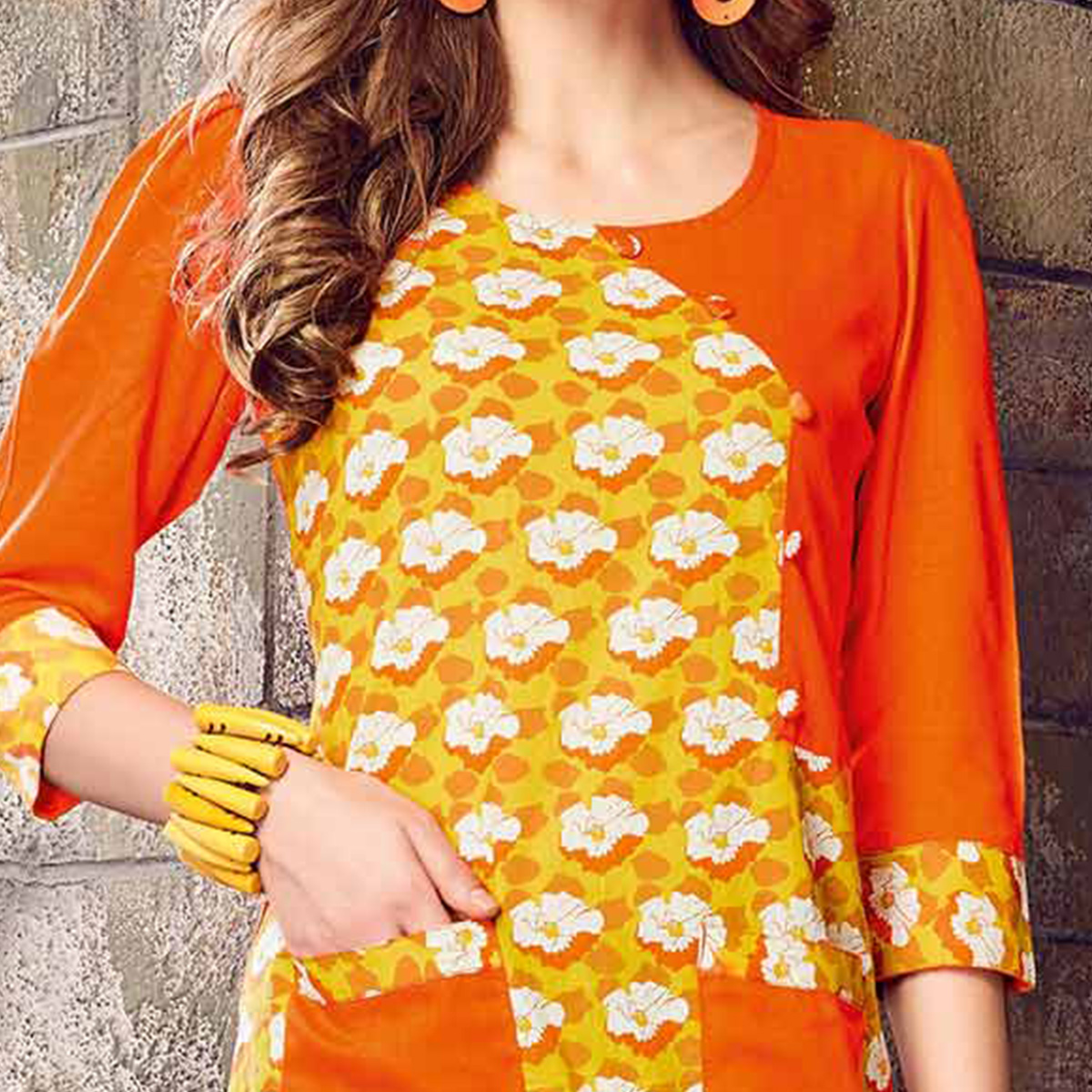 Glowing Yellow-Orange Colored Printed Cotton Kurti