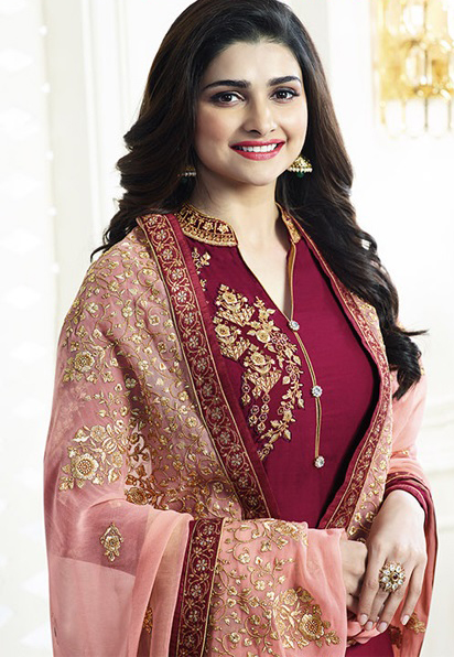 Maroon Floral Embroidered Partywear Suit
