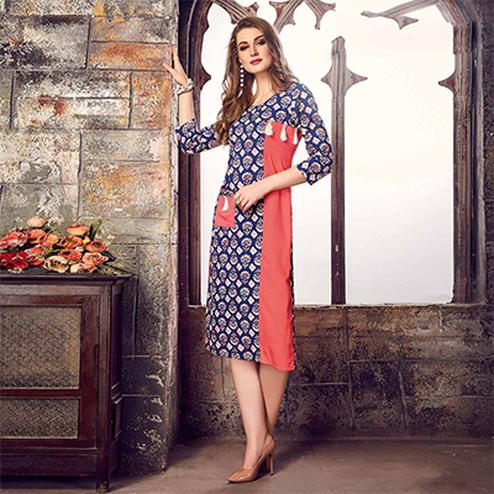 Perfect Navy Blue-Peach Colored Printed Cotton Kurti