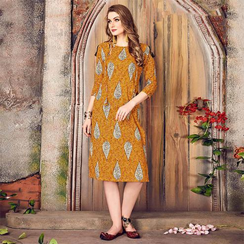 Marvelous Yellow Colored Printed Cotton Kurti