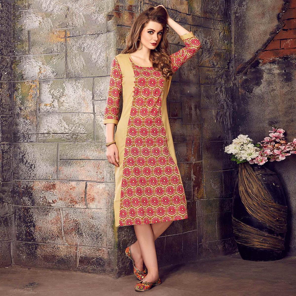 Extraordinary Beige-Pink Colored Printed Cotton Kurti