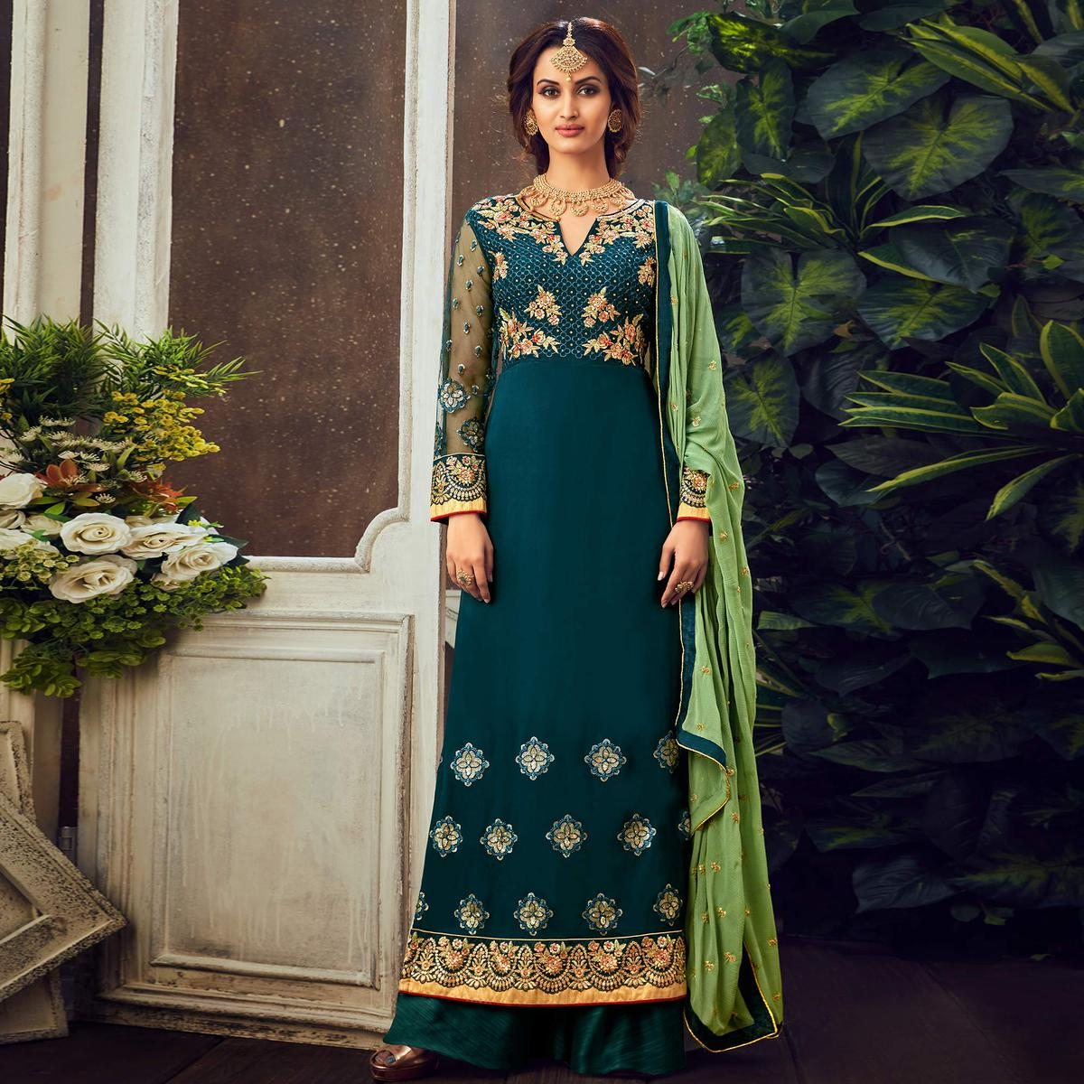 Teal Blue Festive Wear Floral Embroidered Pure Georgette Suit