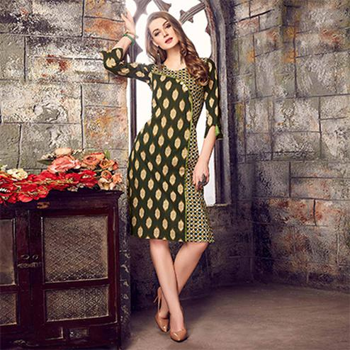 Deserving Dark Green Colored Printed Cotton Kurti