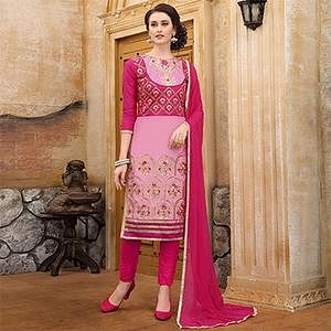 Beautiful Pink Colored Thread Embroidered Cotton Dress Material