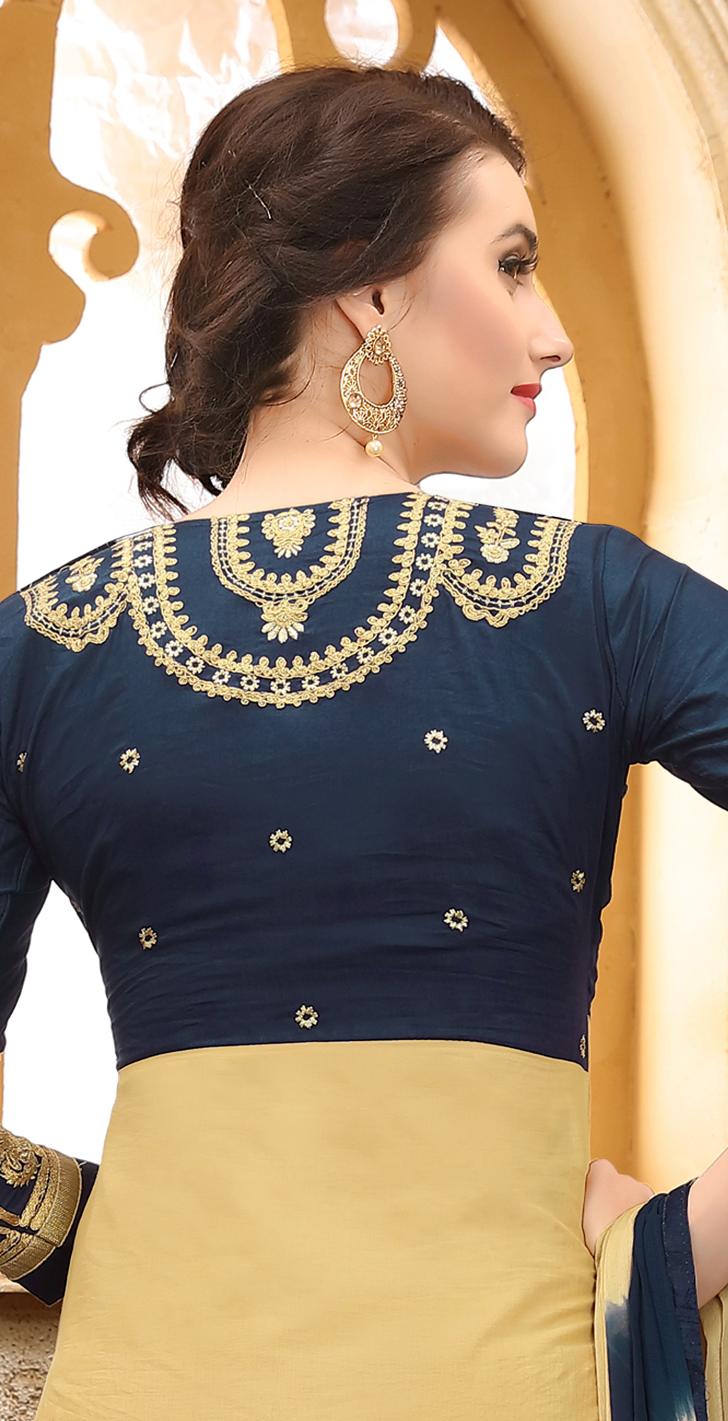 Cool Navy Blue & Cream Colored Thread Embroidered Cotton Dress Material