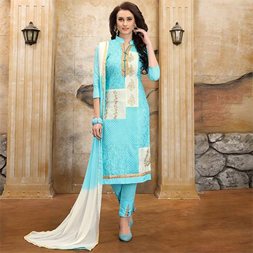 Stylish Sky Blue Colored Thread Embroidered Cotton Dress Material