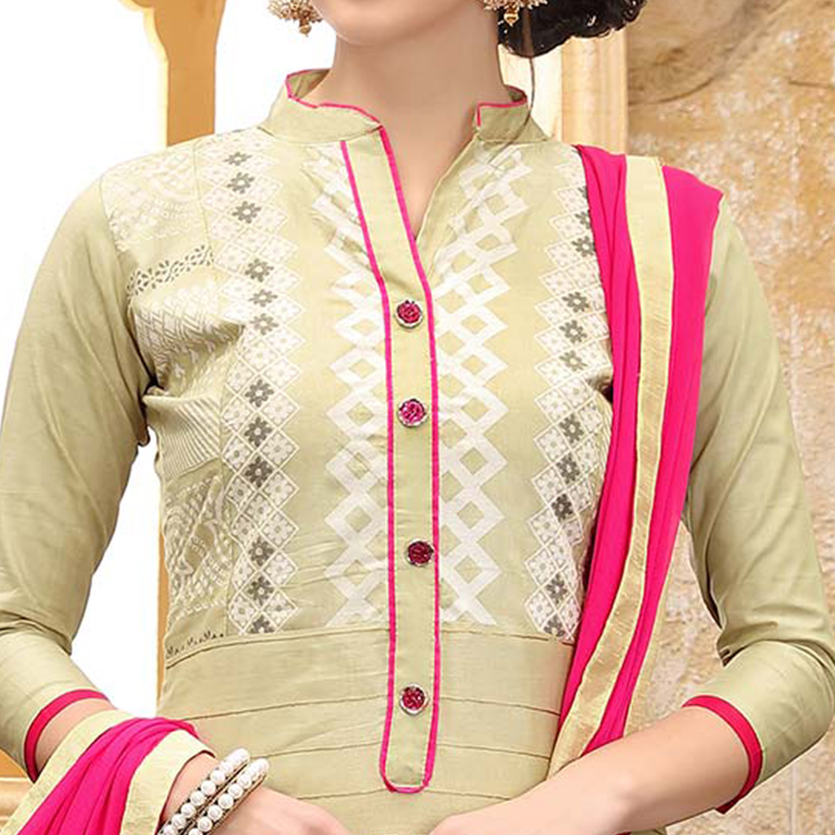 Classy Cream Colored Thread Embroidered Cotton Dress Material