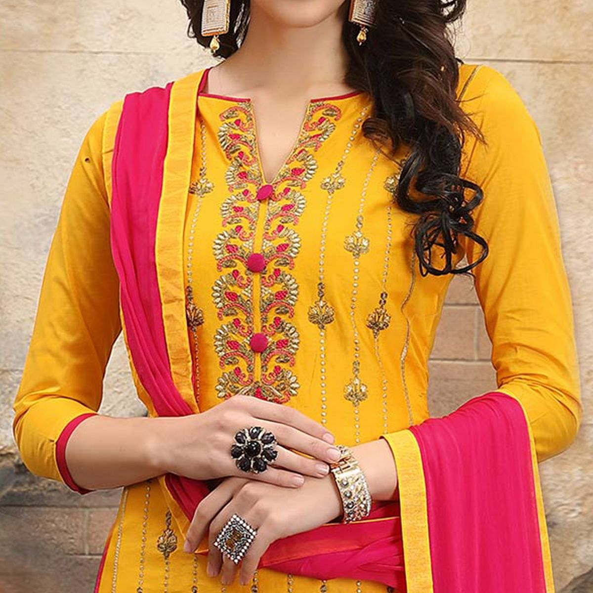 Alluring Yellow Colored Thread Embroidered Cotton Dress Material
