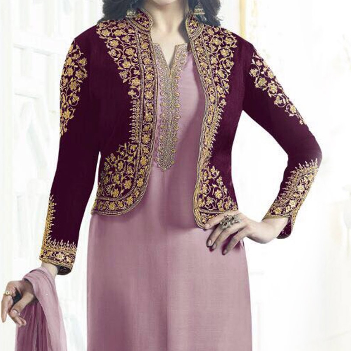 Light Pink Embroidered Jacket Suit