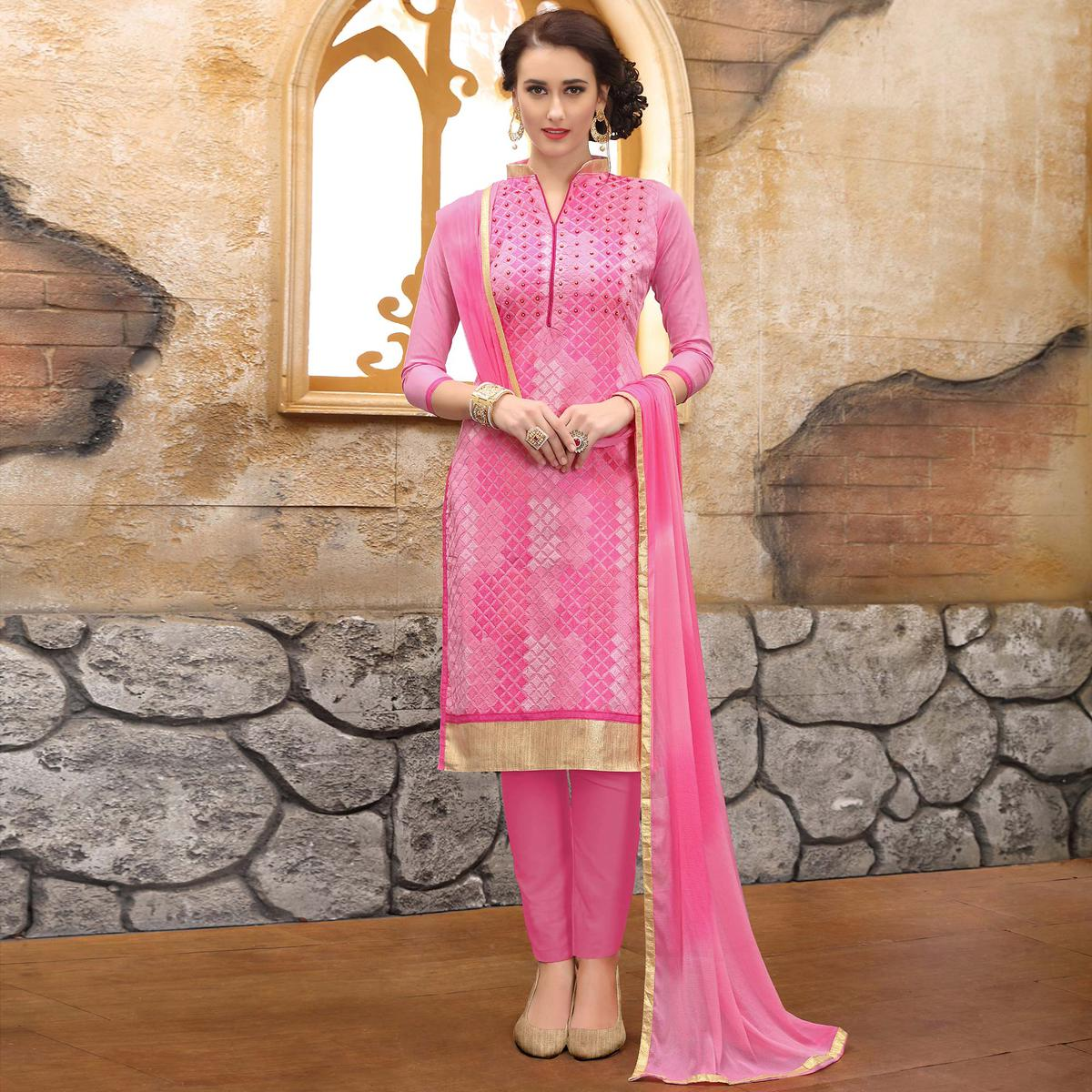 Charming Pink Colored Thread Embroidered Cotton Dress Material