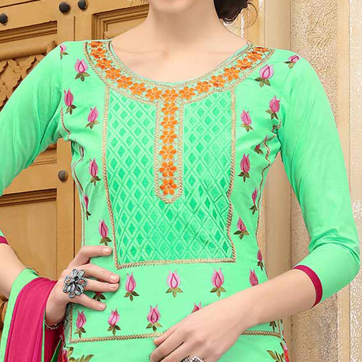 Stunning Light Green Colored Thread Embroidered Cotton Dress Material