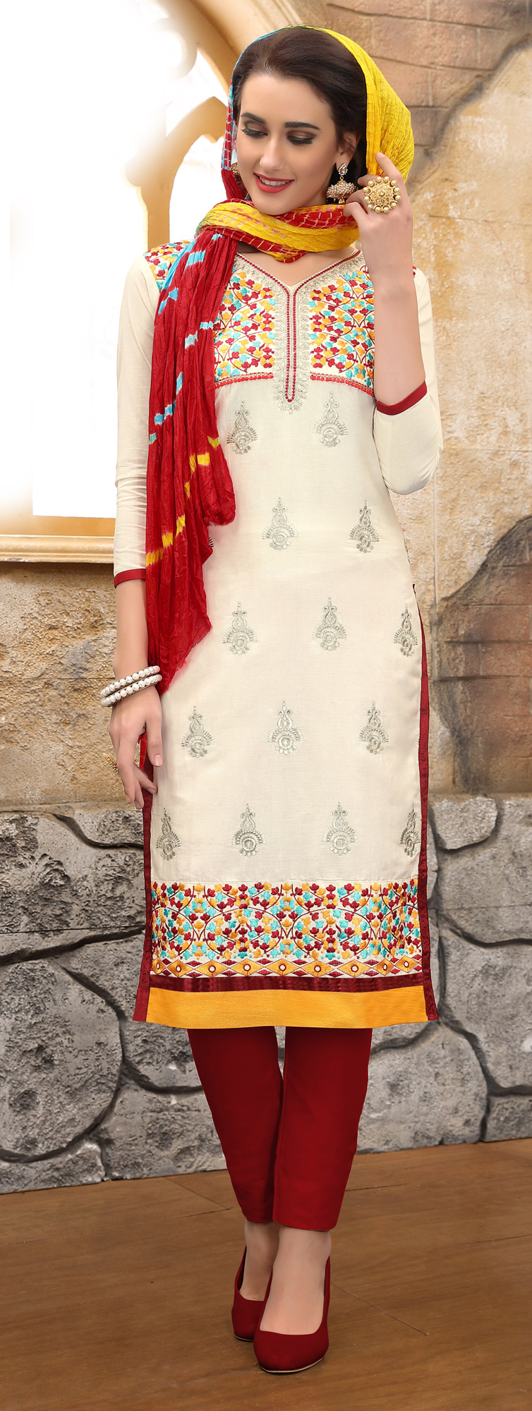 Trendy Off-White Colored Thread Embroidered Cotton Dress Material
