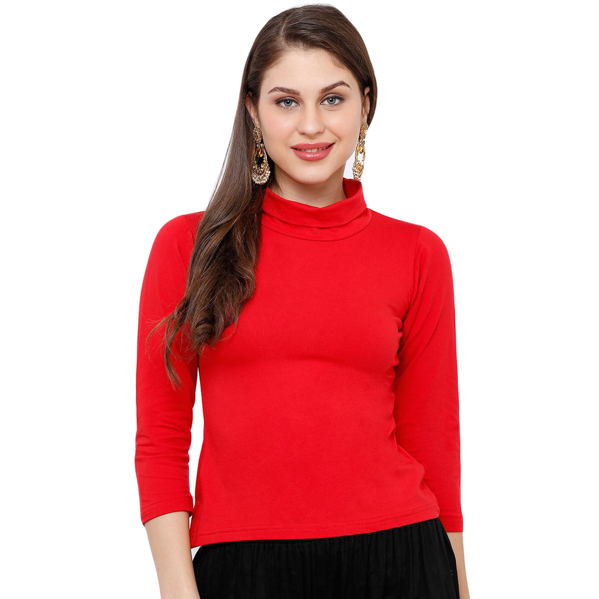 Salwar Studio - Women's Red Casual Stretchable Readymade Saree Blouse