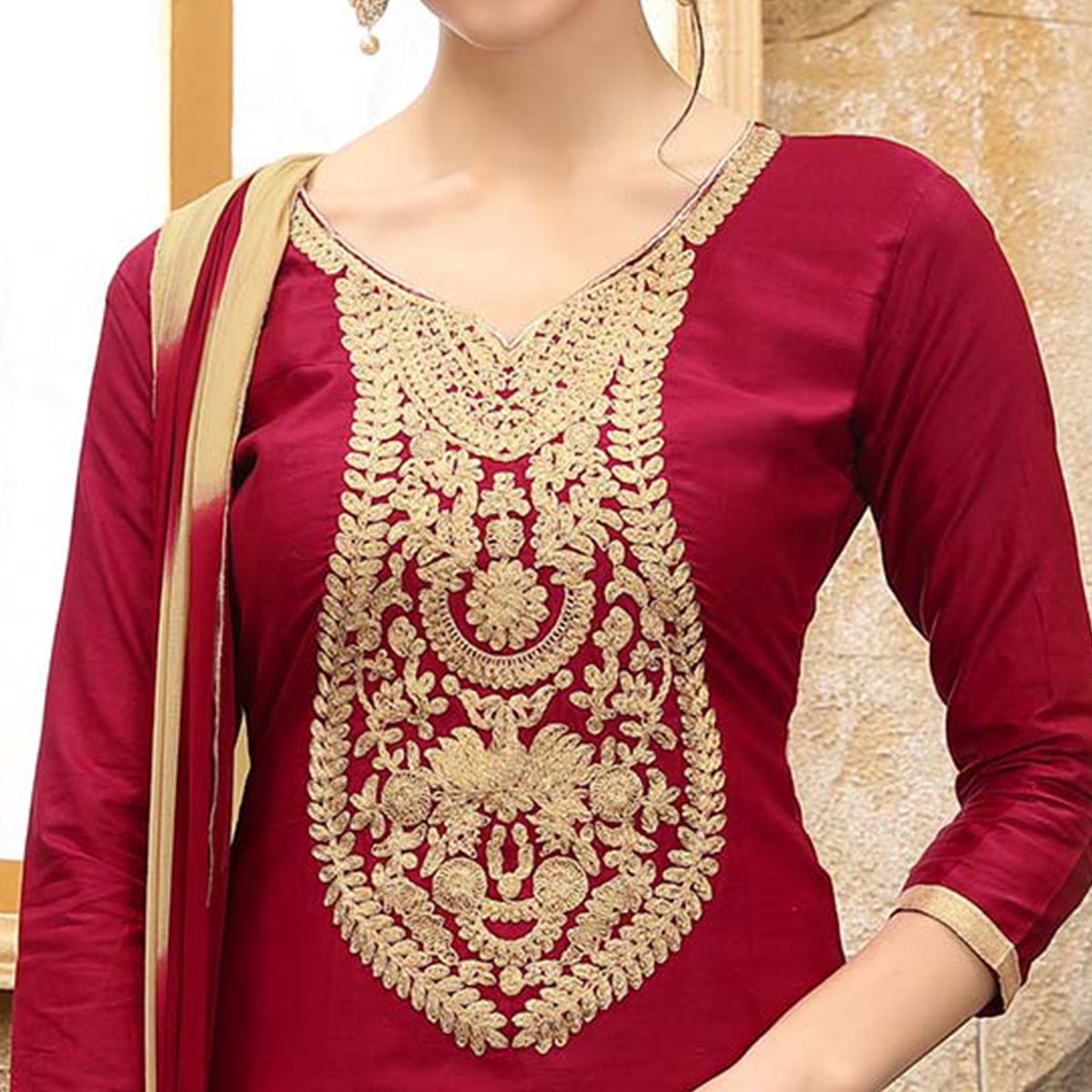Marvellous Maroon Colored Thread Embroidered Cotton Dress Material