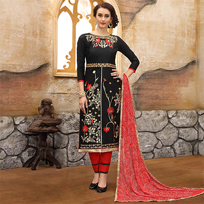 Arresting Black Colored Thread Embroidered Cotton Dress Material