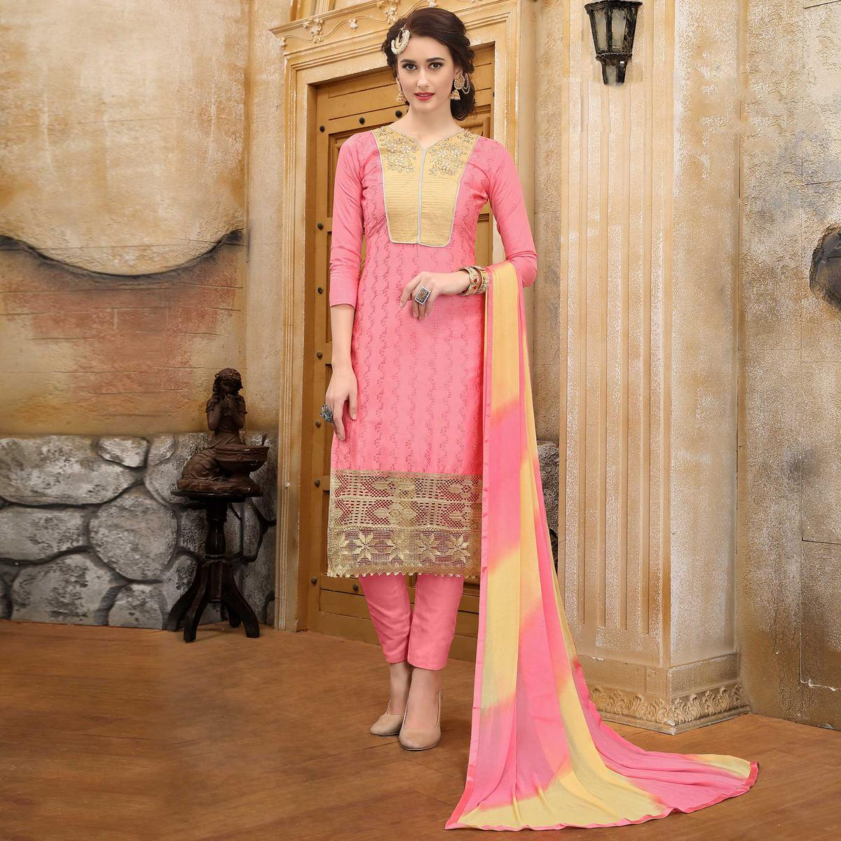 Glorious Pink Colored Thread Embroidered Cotton Dress Material