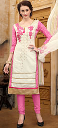 Pretty White & Pink Colored Thread Embroidered Cotton Dress Material