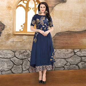 Prominent Navy Blue Colored Embroidered Partywear Cotton Kurti