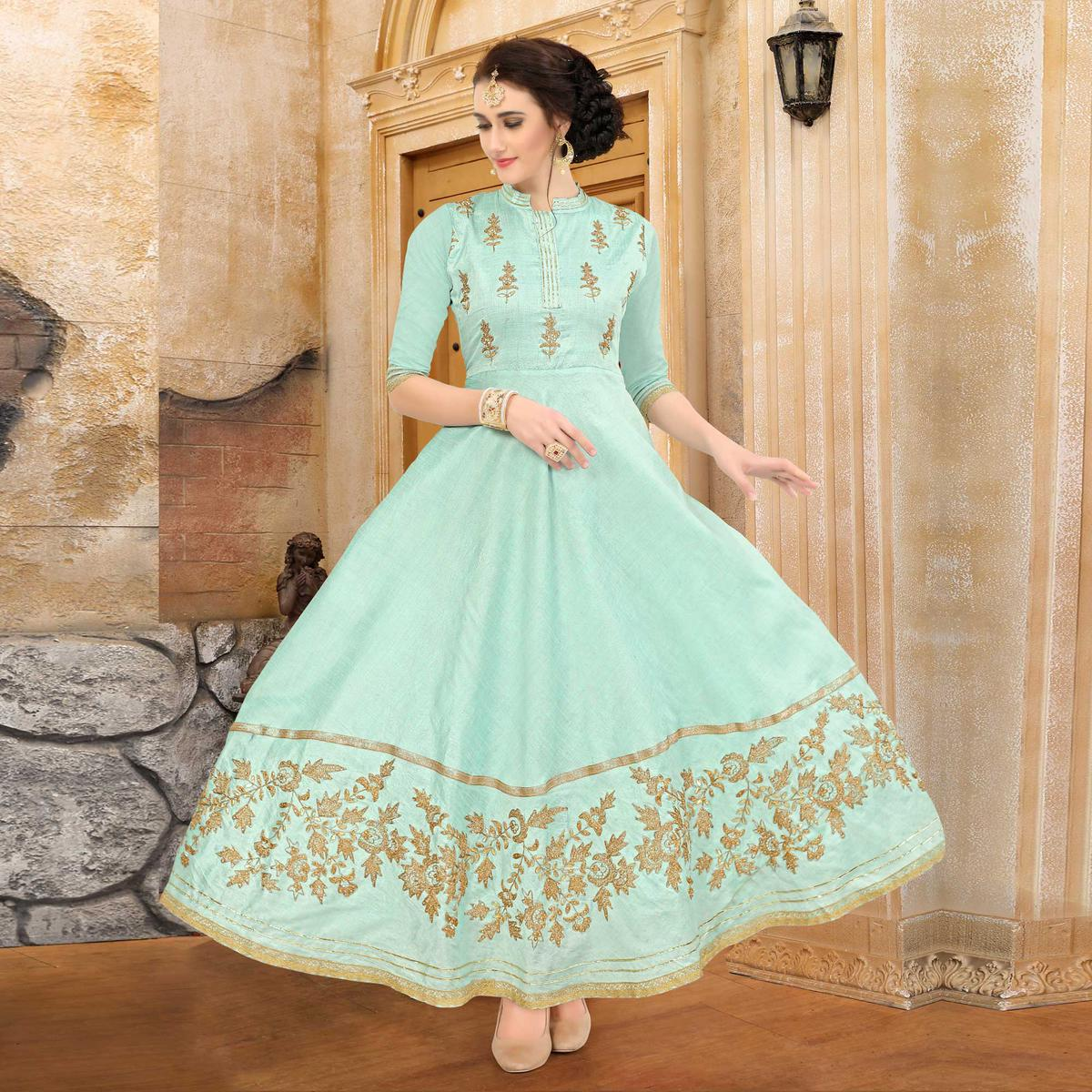5655322c43a Buy Adorning Aqua Green Colored Embroidered Partywear Art Silk Kurti Online  India