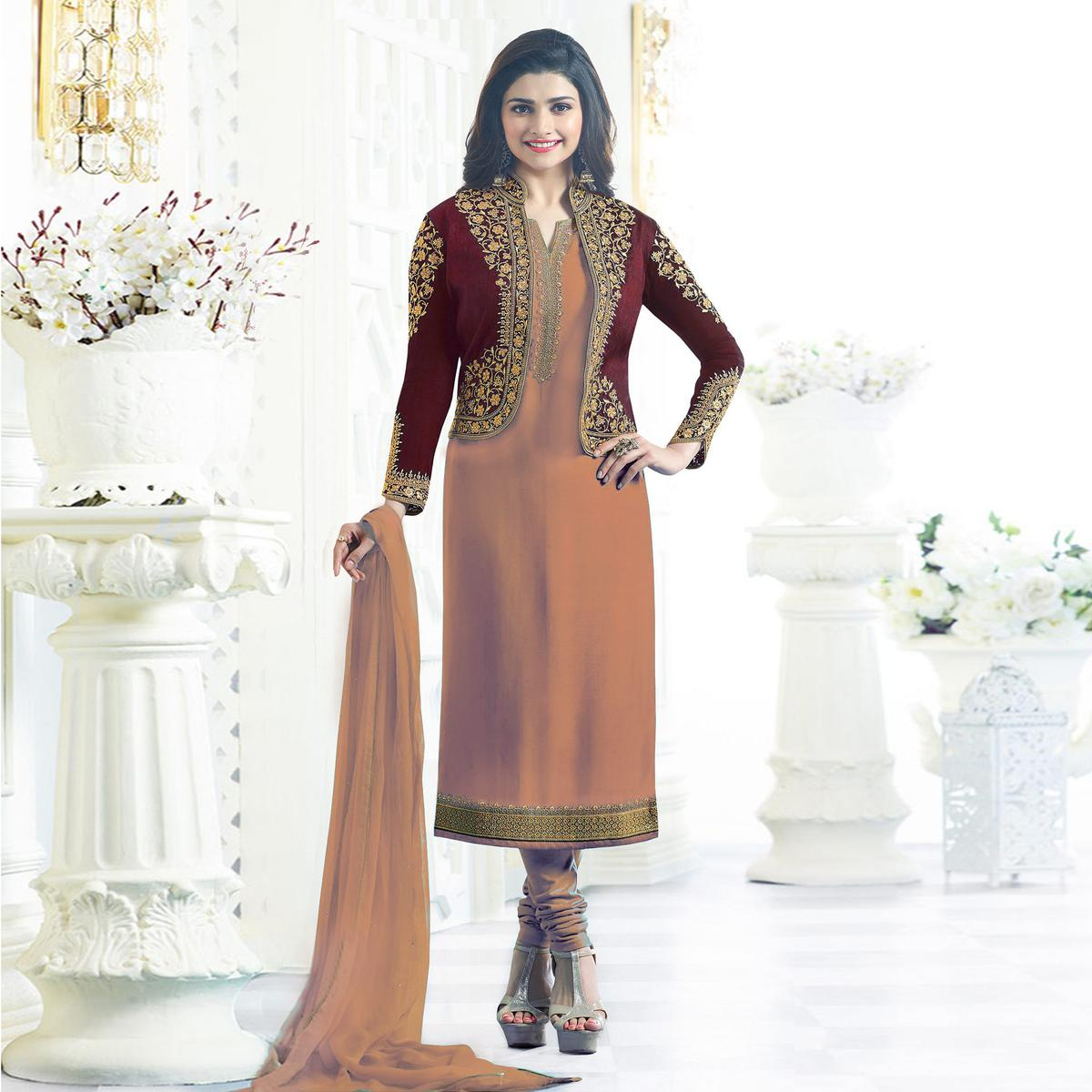 f63357ecf1e7 Buy Orange Jacket Style Designer Suit for womens online India, Best Prices,  Reviews - peachmode