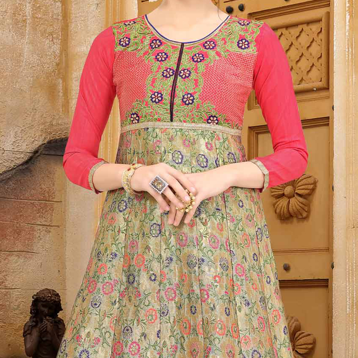 Perfect Pink Colored Embroidered Partywear Jacquard Art Silk Kurti