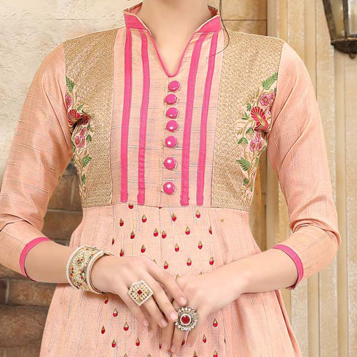 Preferable Baby Pink Colored Embroidered Partywear Art Silk Kurti