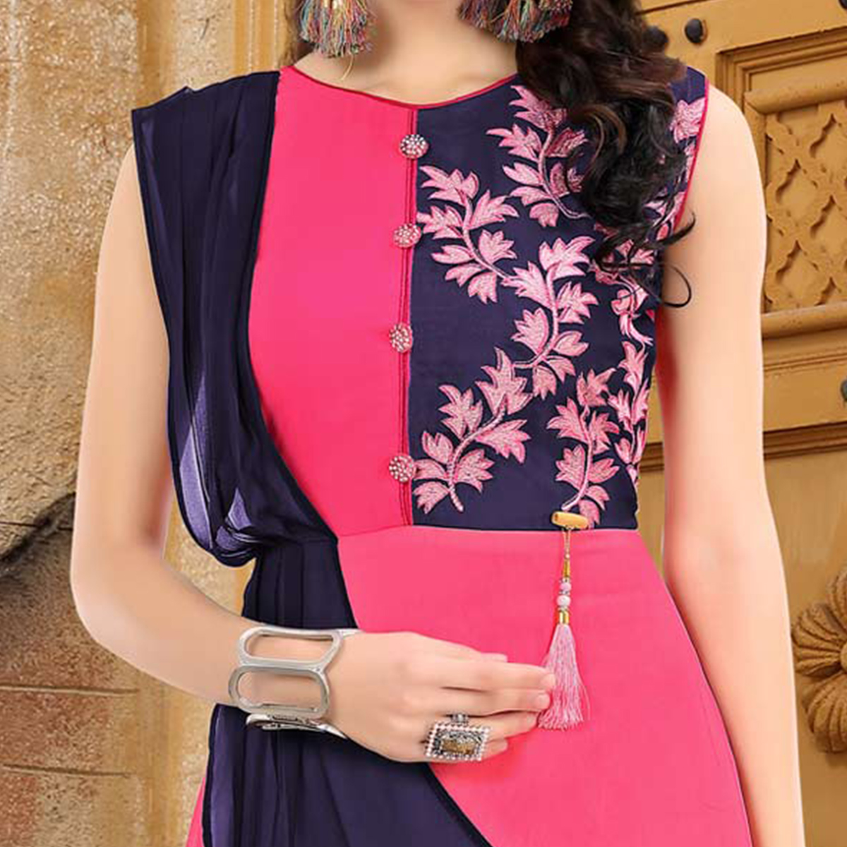 Refreshing Pink-Violet Colored Embroidered Partywear Georgette Kurti