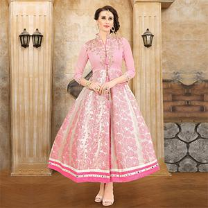 Mesmerising Baby Pink Colored Embroidered Partywear Jacquard Art Silk Kurti