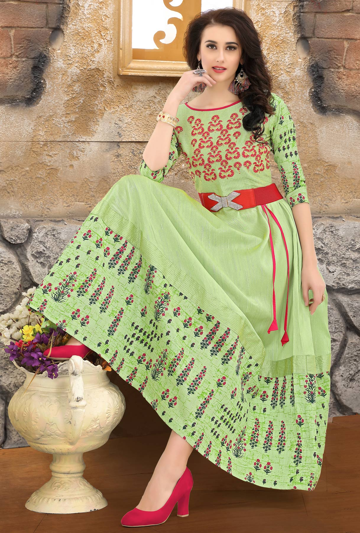 Majesty Green Colored Embroidered Partywear Art Silk Kurti