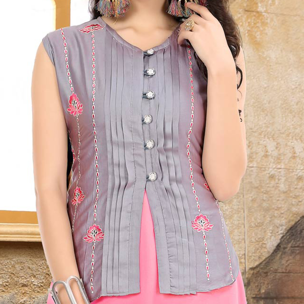 Exotic Grey-Pink Colored Embroidered Partywear Georgette-Cotton Kurti